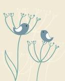 Fundo do vintage com pássaros, flores ilustração royalty free