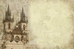 Fundo do vintage de Praga imagens de stock