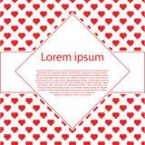 Fundo do vintage do dia de Valentim com corações e quadro de texto vermelhos do rombo Fotos de Stock