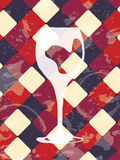 Fundo do vintage do Grunge com vidro de vinho Projeto do restaurante Fotos de Stock