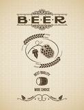 Fundo do vintage do projeto dos lúpulos da cerveja Imagem de Stock Royalty Free