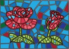 Fundo do vitral da flor de Rosa ilustração do vetor