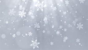 Fundo do White Christmas com flocos de neve, luzes brilhantes e bokeh das partículas no tema elegante Foto de Stock Royalty Free