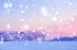 Fundo do Xmas com flocos de neve brancos Paisagem do amanhecer do inverno Imagens de Stock
