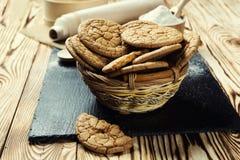 Fundo doce da cookie do biscoito Biscoito empilhado doméstico da manteiga Foto de Stock Royalty Free