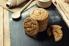 Fundo doce da cookie do biscoito Biscoito empilhado doméstico da manteiga Foto de Stock