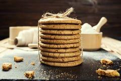 Fundo doce da cookie do biscoito Biscoito empilhado doméstico da manteiga Fotos de Stock Royalty Free