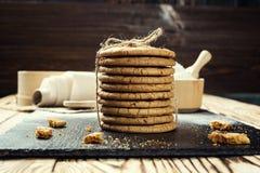 Fundo doce da cookie do biscoito Biscoito empilhado doméstico da manteiga Imagem de Stock
