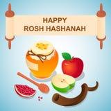 Fundo doce do conceito do hashanah do rosh, estilo isométrico ilustração do vetor