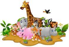 Fundo dos animais selvagens dos desenhos animados Foto de Stock Royalty Free