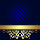 Fundo dos azuis marinhos com beira real dourada. Imagens de Stock