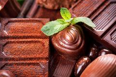Fundo dos chocolates praline Fotografia de Stock