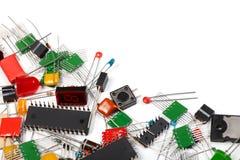 Fundo dos componentes da eletrônica imagem de stock