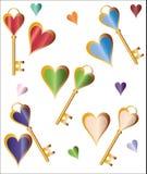 Fundo dos corações e das chaves Fotos de Stock Royalty Free