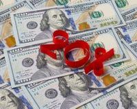Fundo dos dólares e dos 20 por cento Fotografia de Stock