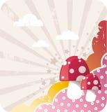 Fundo dos desenhos animados com cogumelos Imagens de Stock Royalty Free