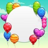 Fundo dos desenhos animados com os balões coloridos brilhantes ilustração stock