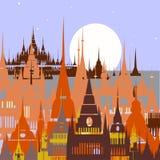 Fundo dos desenhos animados da cidade árabe Vetor Fotografia de Stock
