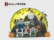 Fundo dos desenhos animados de Dia das Bruxas que tira à mão ilustração do vetor