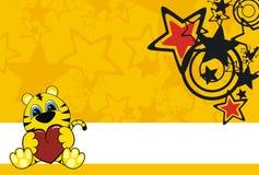 Fundo dos desenhos animados do bebê do tigre Imagem de Stock Royalty Free
