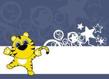 Fundo dos desenhos animados do bebê do tigre Fotografia de Stock