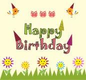 Fundo dos desenhos animados do feliz aniversario Foto de Stock Royalty Free