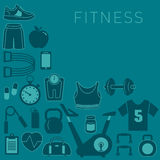 Fundo dos esportes com ícones da aptidão Imagens de Stock Royalty Free