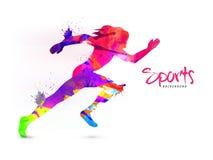 Fundo dos esportes com corredor fêmea ilustração do vetor