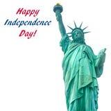 Fundo dos EUA da independência com estátua da liberdade Fotografia de Stock Royalty Free