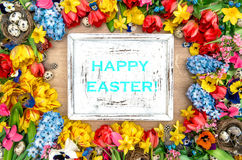 Fundo dos feriados com flores e ovos da páscoa da mola E feliz Imagens de Stock