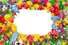 Fundo dos feriados das flores e dos ovos da páscoa da mola Fotografia de Stock Royalty Free