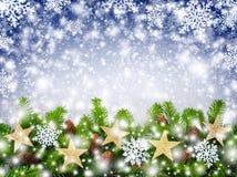 Fundo dos flocos de neve do Natal Fotos de Stock