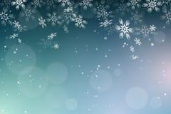 Fundo dos flocos de neve do Natal Fotografia de Stock