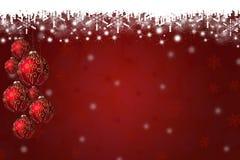 Fundo dos flocos de neve e das quinquilharias do Natal Foto de Stock