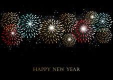 Fundo dos fogos-de-artifício do ano novo feliz 2014 Foto de Stock Royalty Free