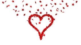 Fundo dos lotes das estrelas vermelhas que fazem um coração grande ilustração royalty free