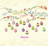 Fundo dos ovos da páscoa com flores Imagens de Stock Royalty Free