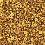 Fundo dos parafusos múltiplos do ouro Fotografia de Stock
