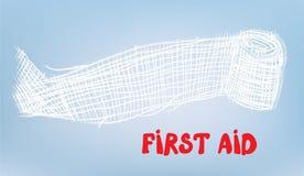 Fundo dos primeiros socorros com atadura Fotografia de Stock Royalty Free