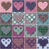 Fundo dos retalhos com corações Foto de Stock Royalty Free
