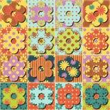 Fundo dos retalhos com ilustração diferente dos testes padrões ilustração stock