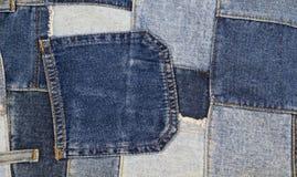 Fundo dos retalhos das calças de brim, retalhos da sarja de Nimes Fotos de Stock Royalty Free