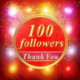 Fundo dos seguidores a ilustração de 100 seguidores com agradece-lhe em uma fita Imagem de Stock