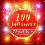 Fundo dos seguidores a ilustração de 100 seguidores com agradece-lhe em uma fita Ilustração do vetor Imagem de Stock