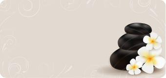 Fundo dos termas com pedras e flores Imagem de Stock Royalty Free