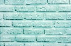 Fundo dos tijolos de turquesa Textura na moda moderna imagens de stock