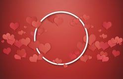 Fundo dos Valentim Quadro branco do círculo com corações vermelhos no fundo vermelho, espaço vazio center para o espaço da cópia Fotos de Stock