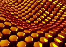 Fundo dourado abstrato lustroso dos hexágonos Fotos de Stock
