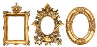 Fundo dourado barroco do branco da moldura para retrato Fotografia de Stock