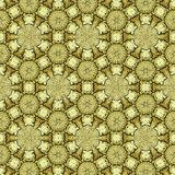 Fundo dourado da geometria sagrado em círculos e em flores contínuos foto de stock royalty free